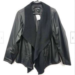 New Outer Edge Coat Faux Leather Open Front Women